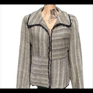 Doncaster Silk Zebra Print Lined Frayed Blazer